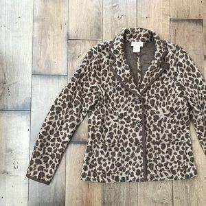 Talbots Merino Wool Cheetah Animal Print Blazer M